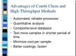 advantages of combi chem and high throughput methods1