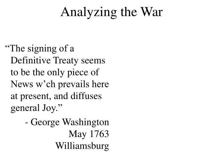Analyzing the War