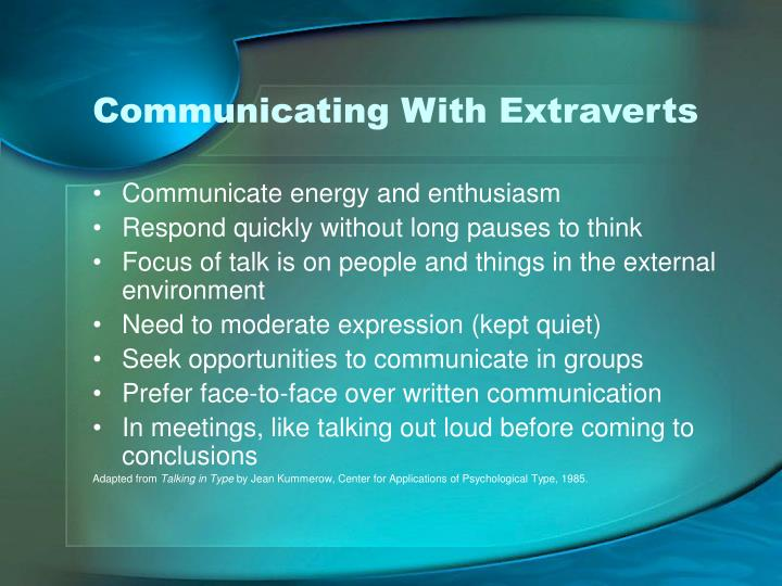 Communicating With Extraverts