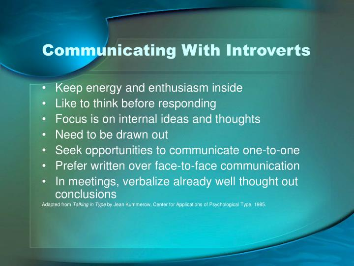 Communicating With Introverts