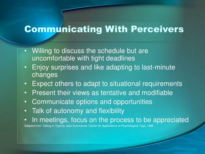 Communicating With Perceivers