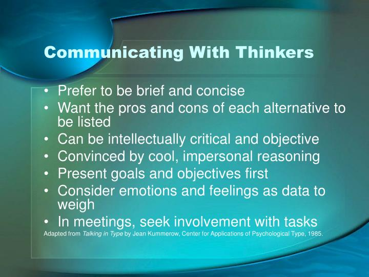 Communicating With Thinkers