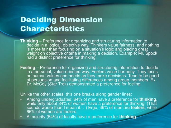 Deciding Dimension Characteristics