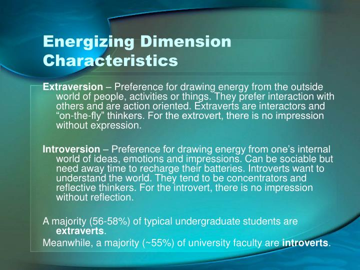 Energizing Dimension Characteristics