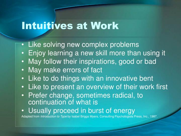 Intuitives at Work