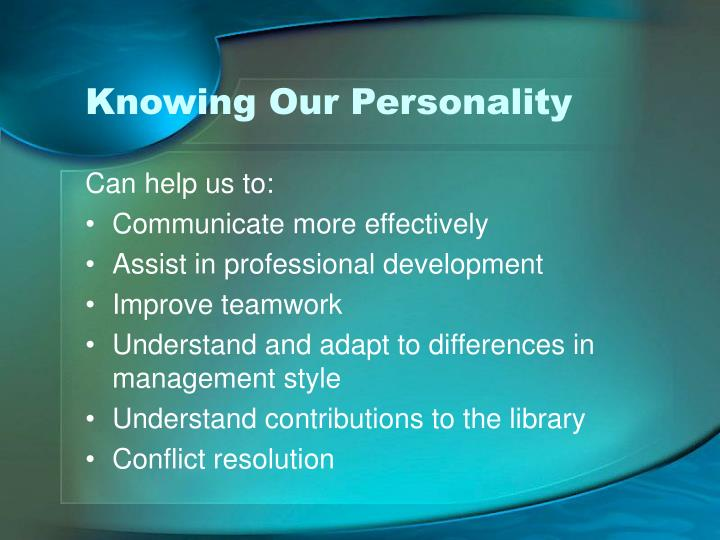 Knowing Our Personality