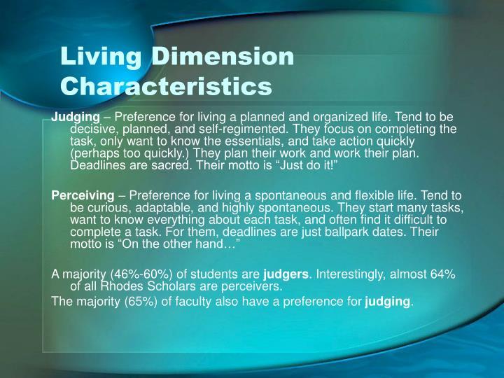 Living Dimension Characteristics