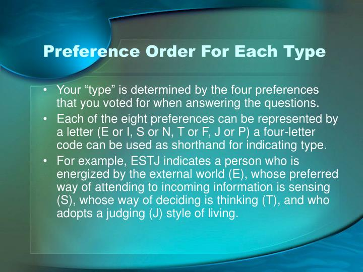 Preference Order For Each Type
