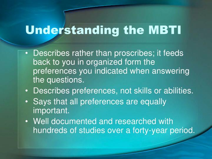 Understanding the MBTI