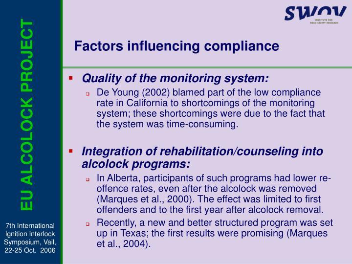 Factors influencing compliance