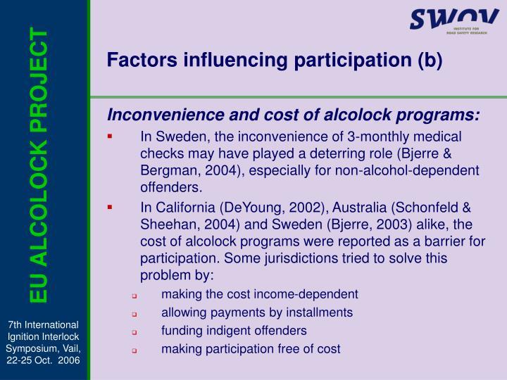Factors influencing participation (b)