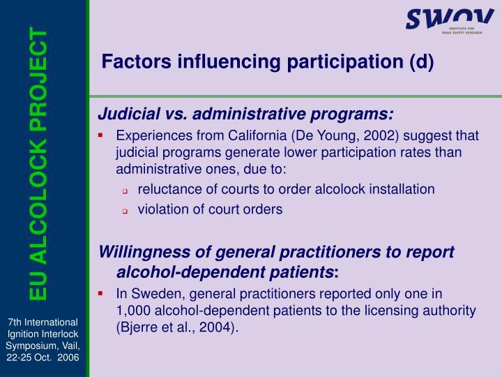Factors influencing participation (d)