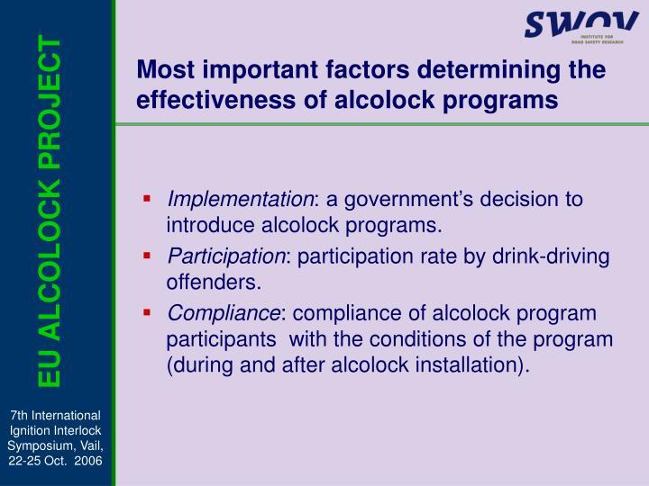 Most important factors determining the effectiveness of alcolock programs