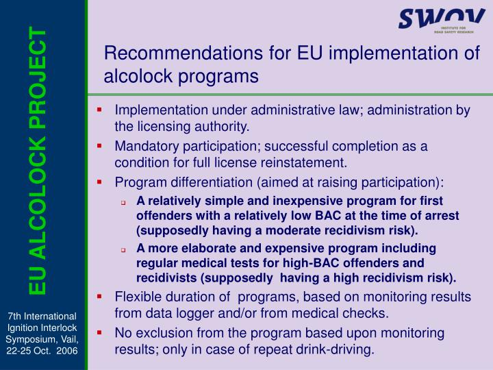 Recommendations for EU implementation of alcolock programs