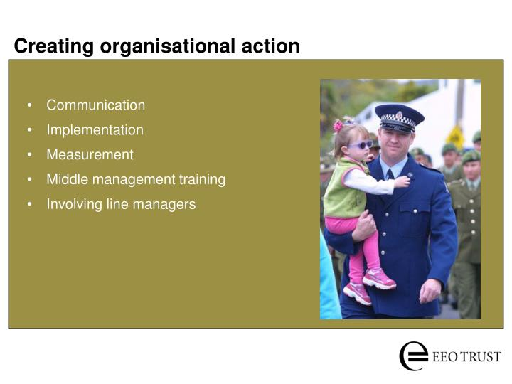 Creating organisational action