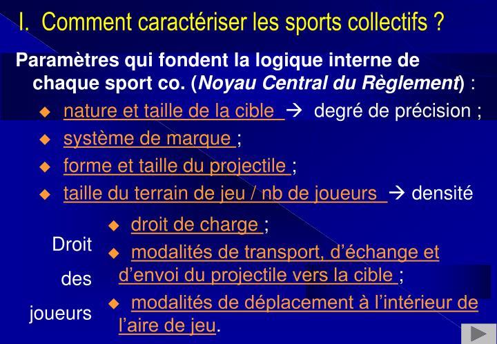 Paramètres qui fondent la logique interne de chaque sport co.