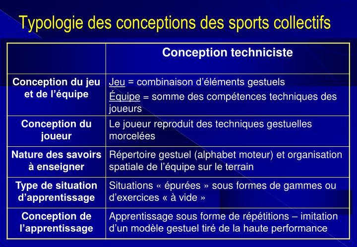 Typologie des conceptions des sports collectifs