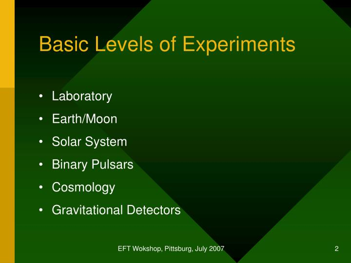 Basic levels of experiments
