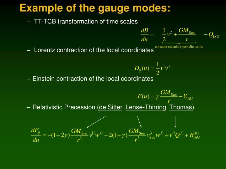 Example of the gauge modes: