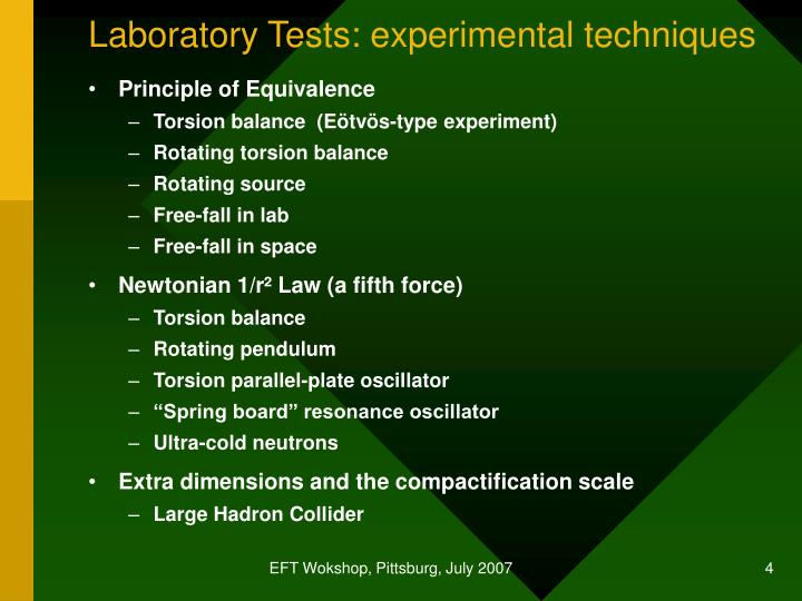 Laboratory Tests: experimental techniques