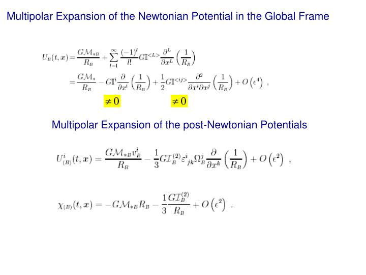 Multipolar Expansion of the Newtonian Potential in the Global Frame