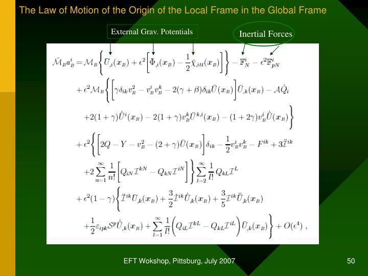 The Law of Motion of the Origin of the Local Frame in the Global Frame