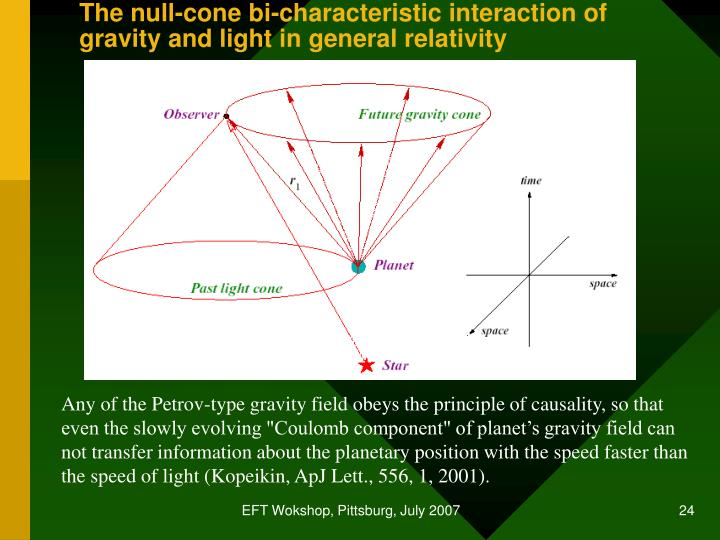 The null-cone bi-characteristic interaction of gravity and light in general relativity