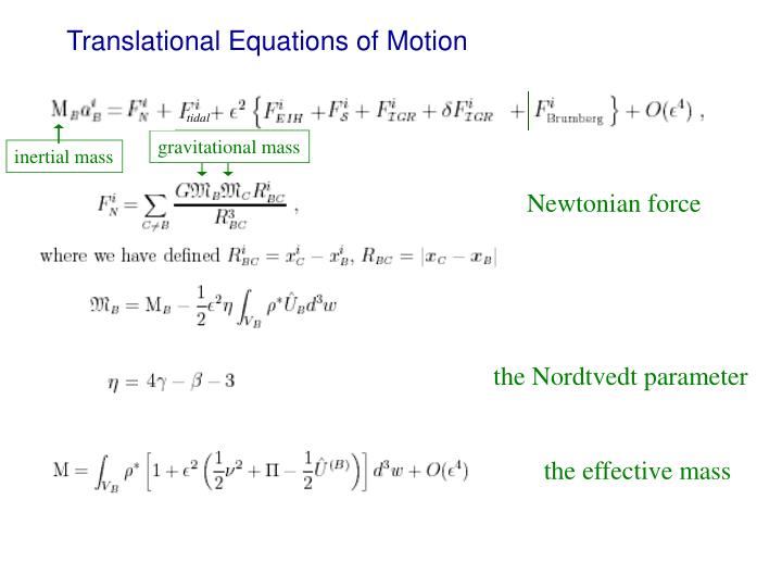 Translational Equations of Motion