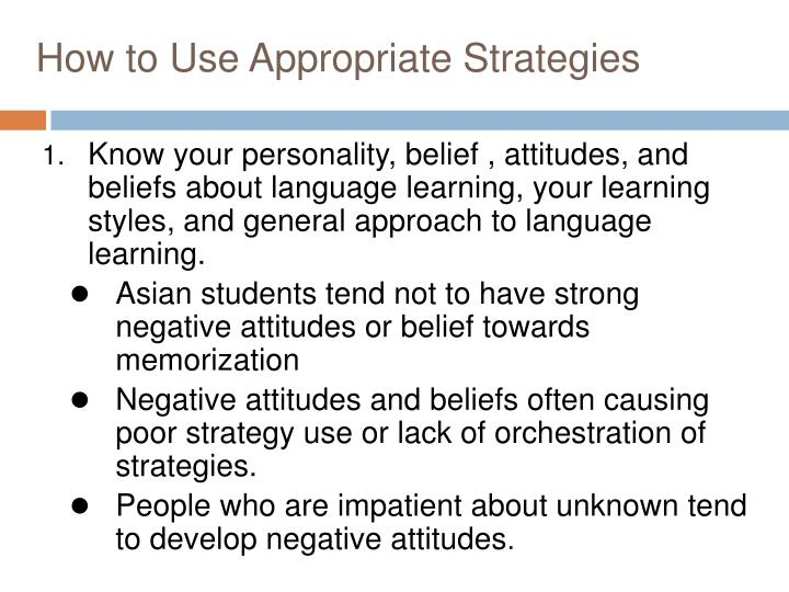 How to Use Appropriate Strategies