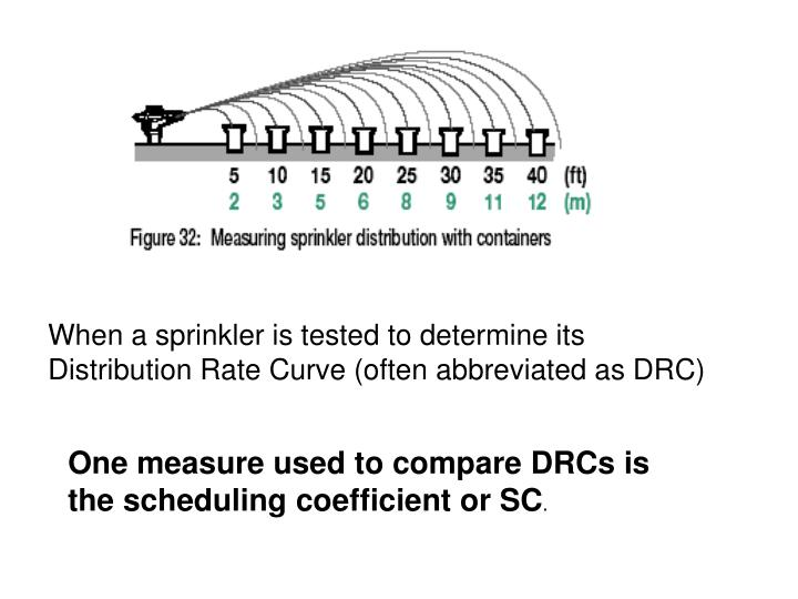 When a sprinkler is tested to determine its Distribution Rate Curve (often abbreviated as DRC)