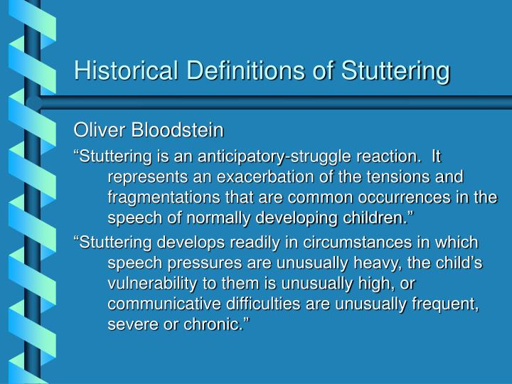 Historical Definitions of Stuttering