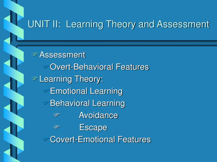 UNIT II:  Learning Theory and Assessment