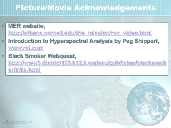 Picture/Movie Acknowledgements