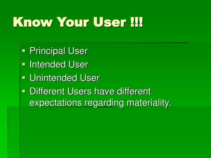 Know Your User !!!