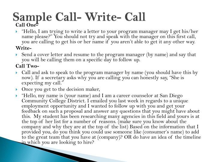 Sample Call- Write- Call