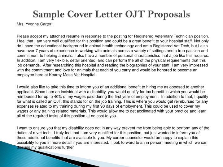 Sample Cover Letter OJT Proposals