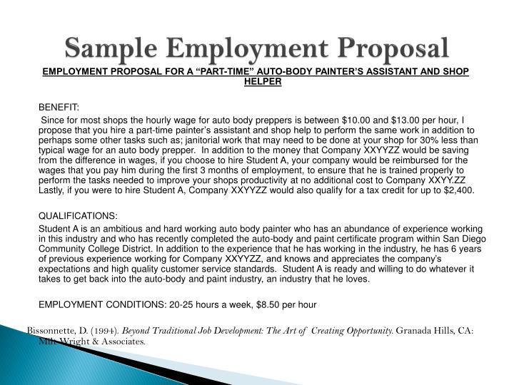 Sample Employment Proposal