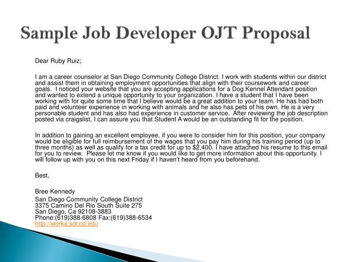 Sample Job Developer OJT Proposal