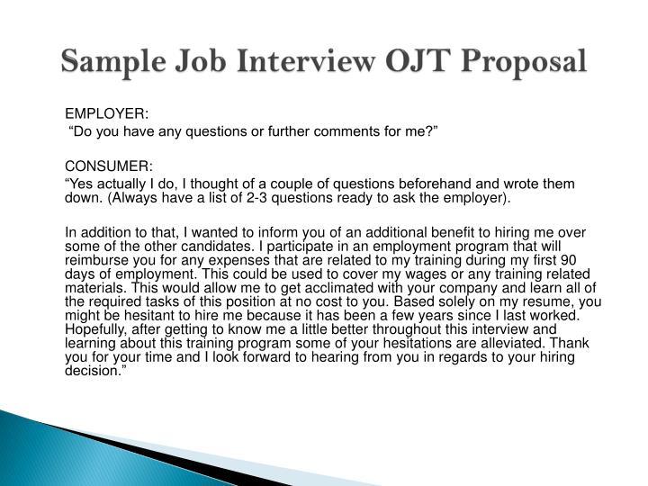 Sample Job Interview OJT Proposal