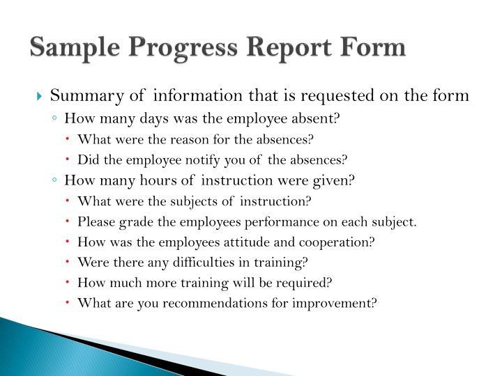 Sample Progress Report Form