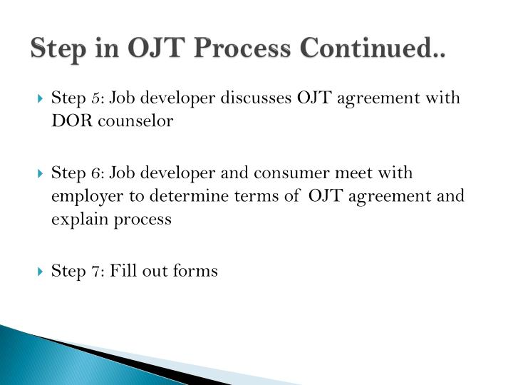 Step in OJT Process Continued..