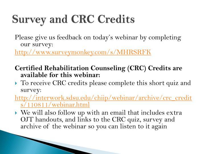 Survey and CRC Credits