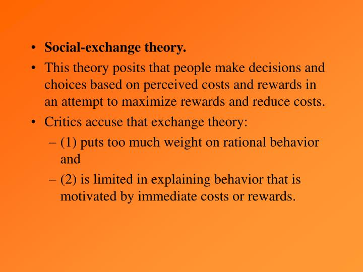 Social-exchange theory.