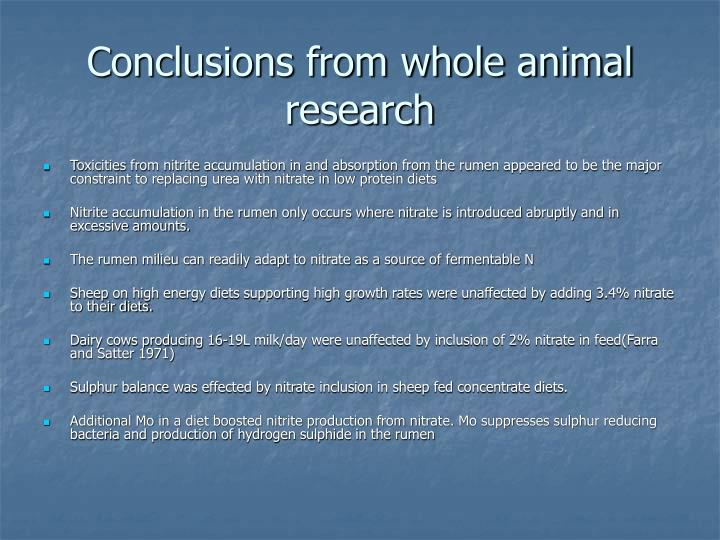 Conclusions from whole animal research