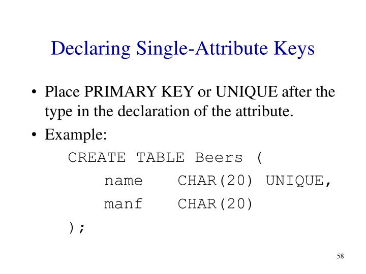 Declaring Single-Attribute Keys
