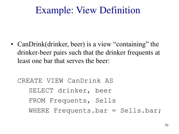 Example: View Definition