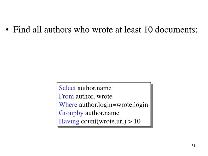 Find all authors who wrote at least 10 documents: