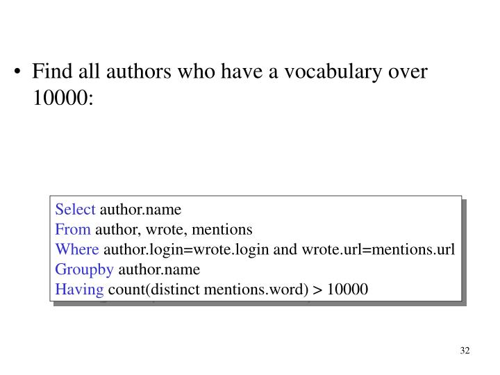 Find all authors who have a vocabulary over 10000: