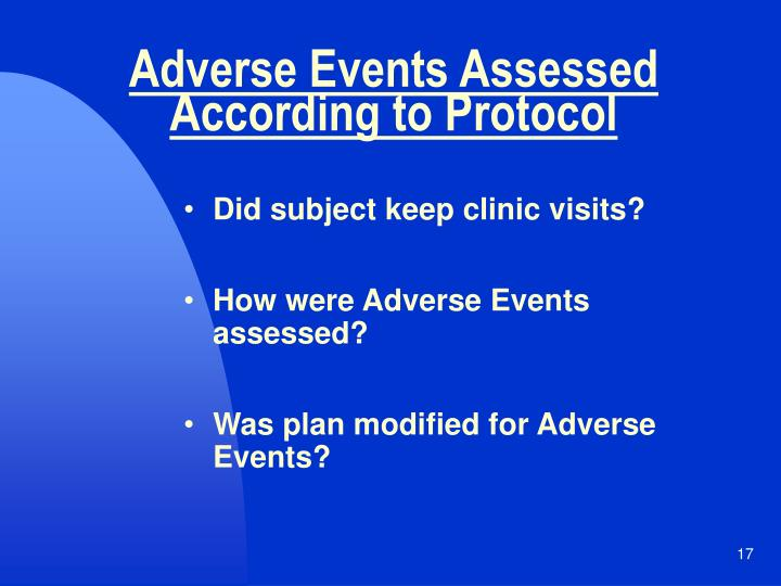 Adverse Events Assessed