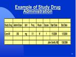example of study drug administration